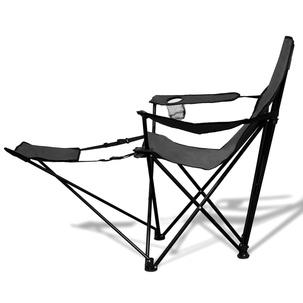 la boutique en ligne chaise pliable de camping 2 pcs avec repose pied gris. Black Bedroom Furniture Sets. Home Design Ideas