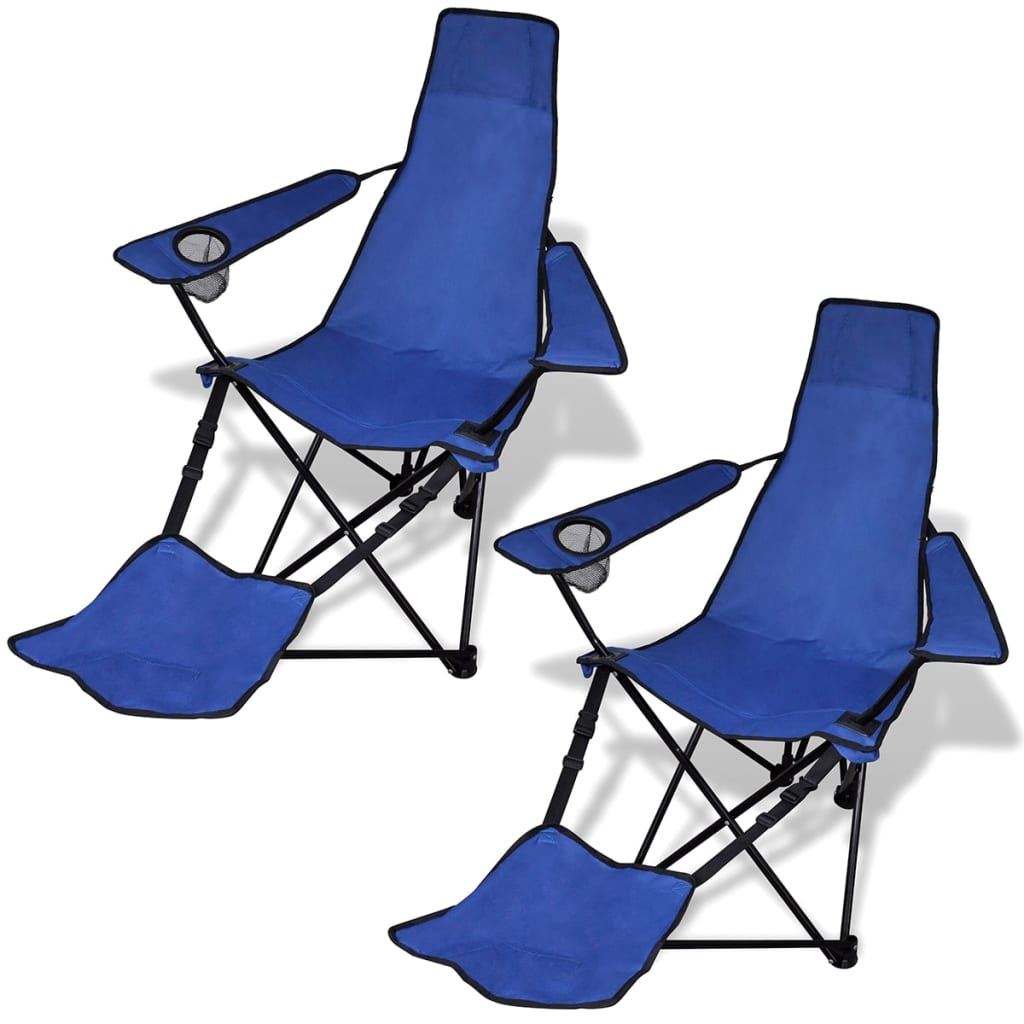 chaise pliable de camping 2 pcs avec repose pied chaise de jardin terrasse ebay. Black Bedroom Furniture Sets. Home Design Ideas
