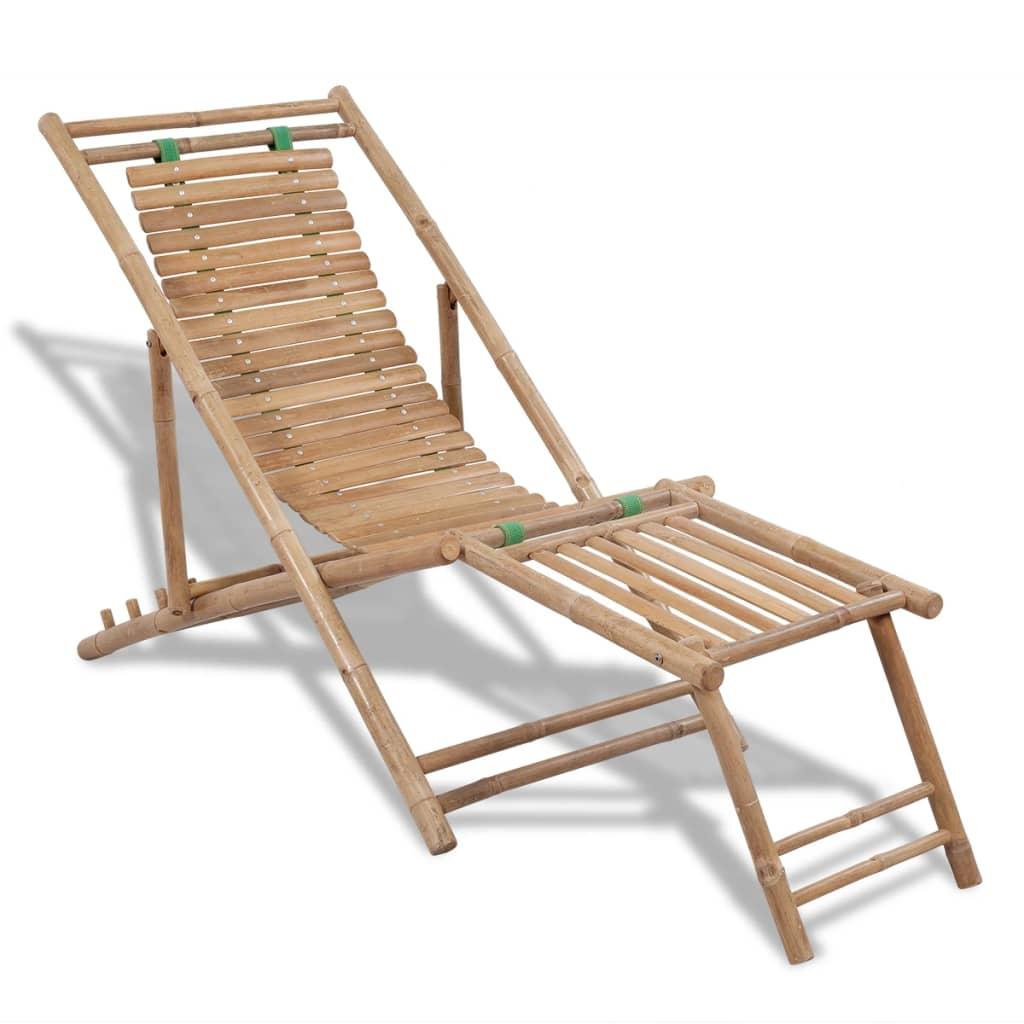 Däckstol i bambu med fotstöd