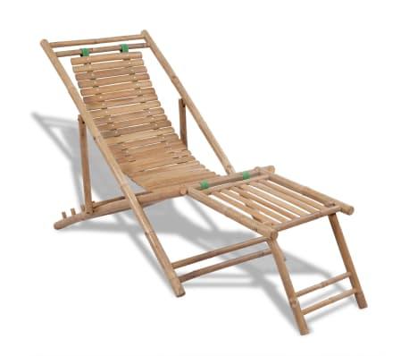 Stolica/ležaljka za sunce od bambusa , s naslonom za noge