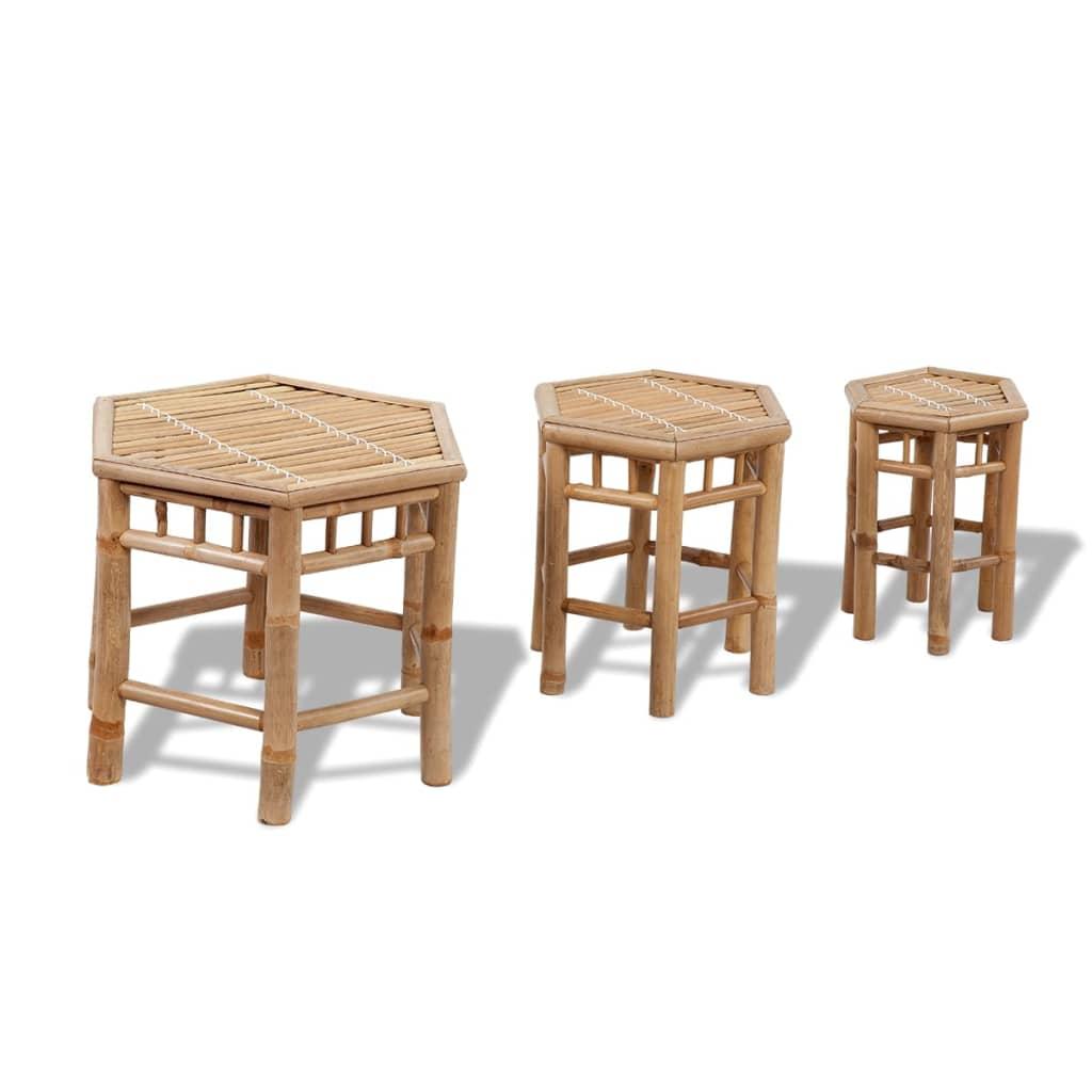 vidaXL 3 db hatszögletű bambusz kerti szék készlet