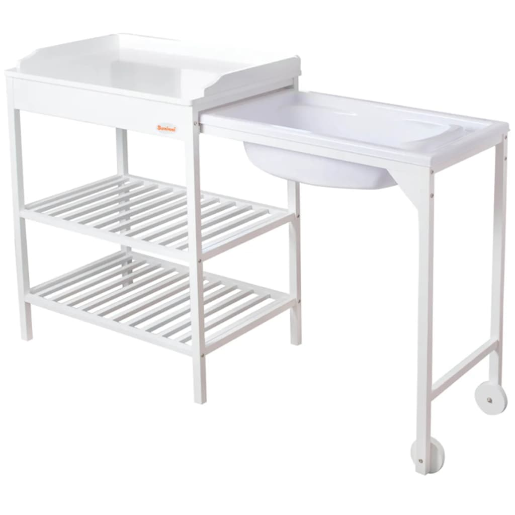 Baninni bath and changing table lavi wood white bnbr006 wh for Changing table for bathroom