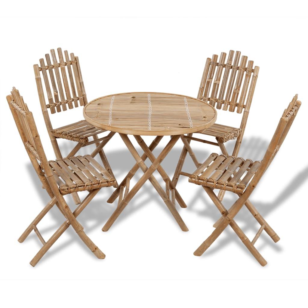 gartenset bambus faltbar 1 tisch 4 st hle g nstig kaufen. Black Bedroom Furniture Sets. Home Design Ideas