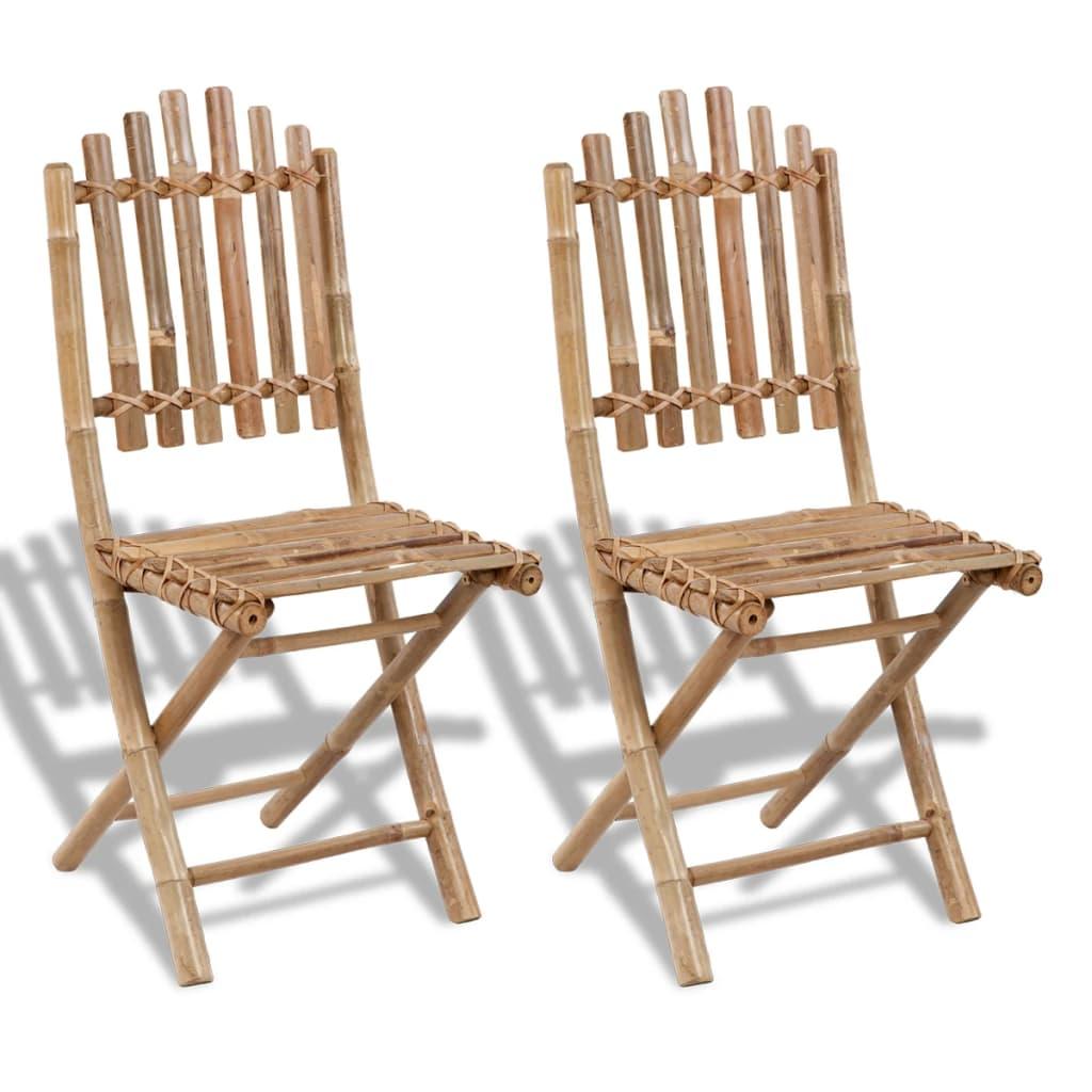 vidaXL 2 db összecsukható bambusz kerti szék