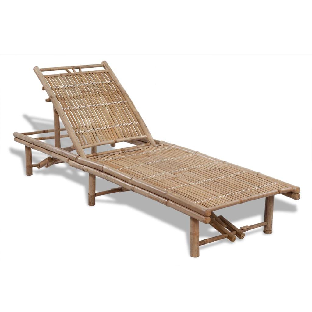 vidaXL állítható bambusz napozóágy