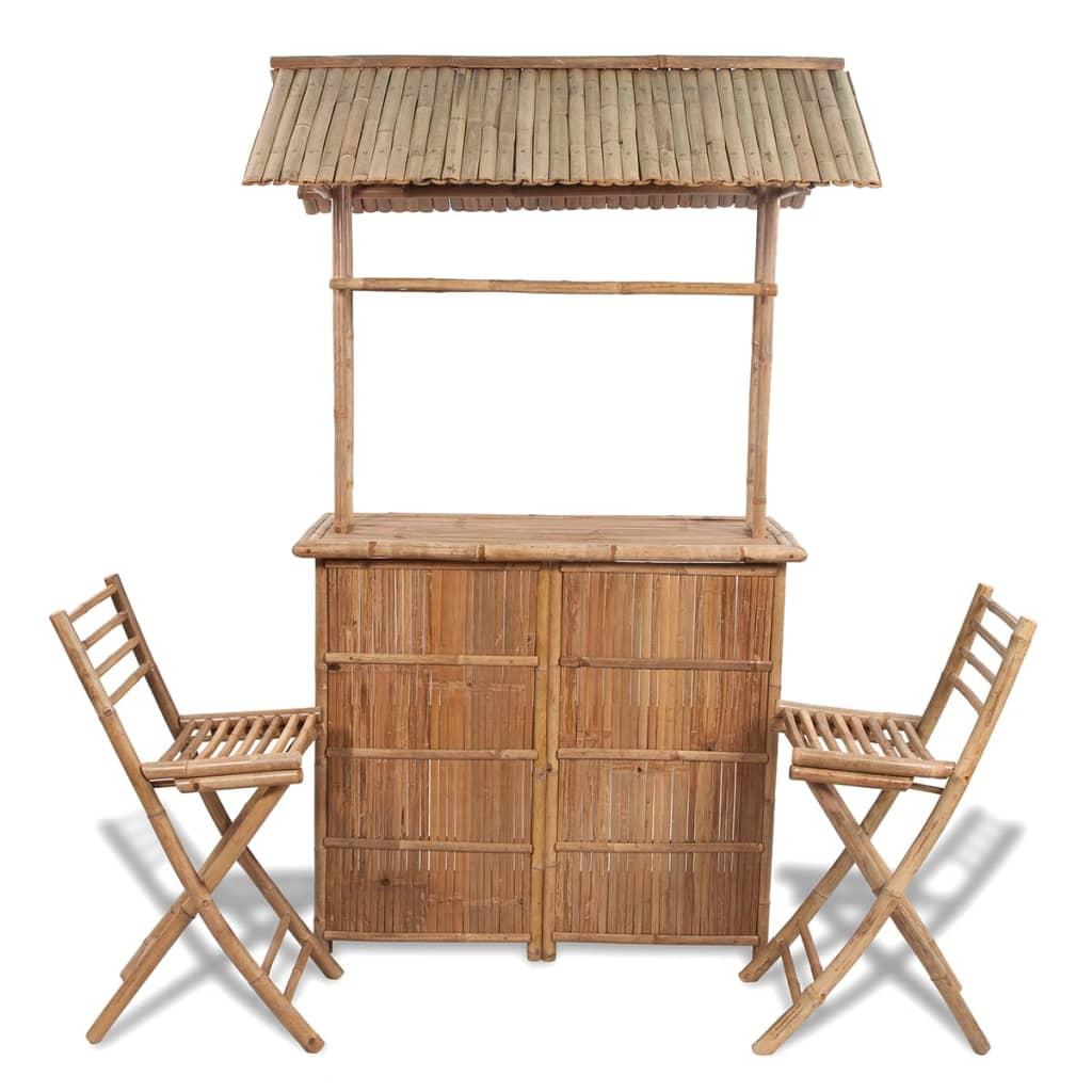 Bardisk i bambu med 2 stolar