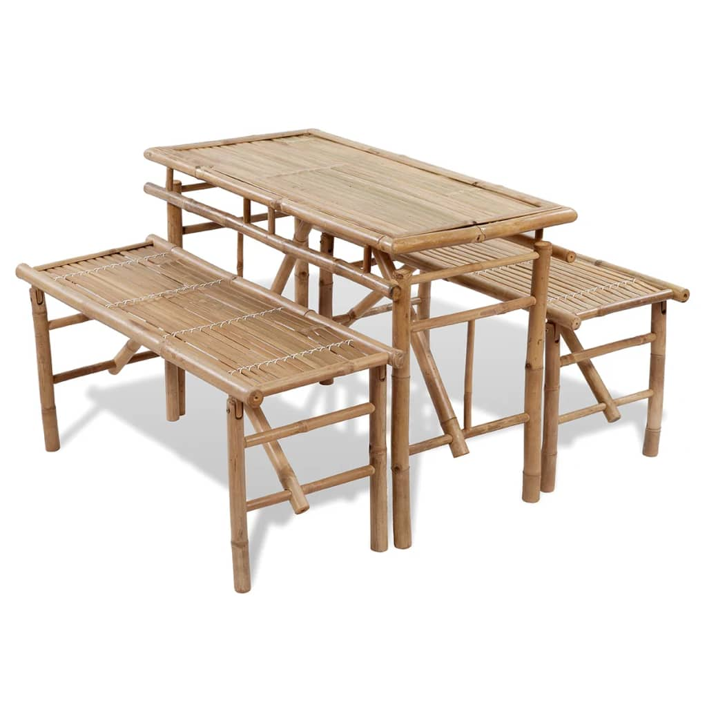 Vidaxl Bamboo Folding Beer Picnic Table Set 2 Benches