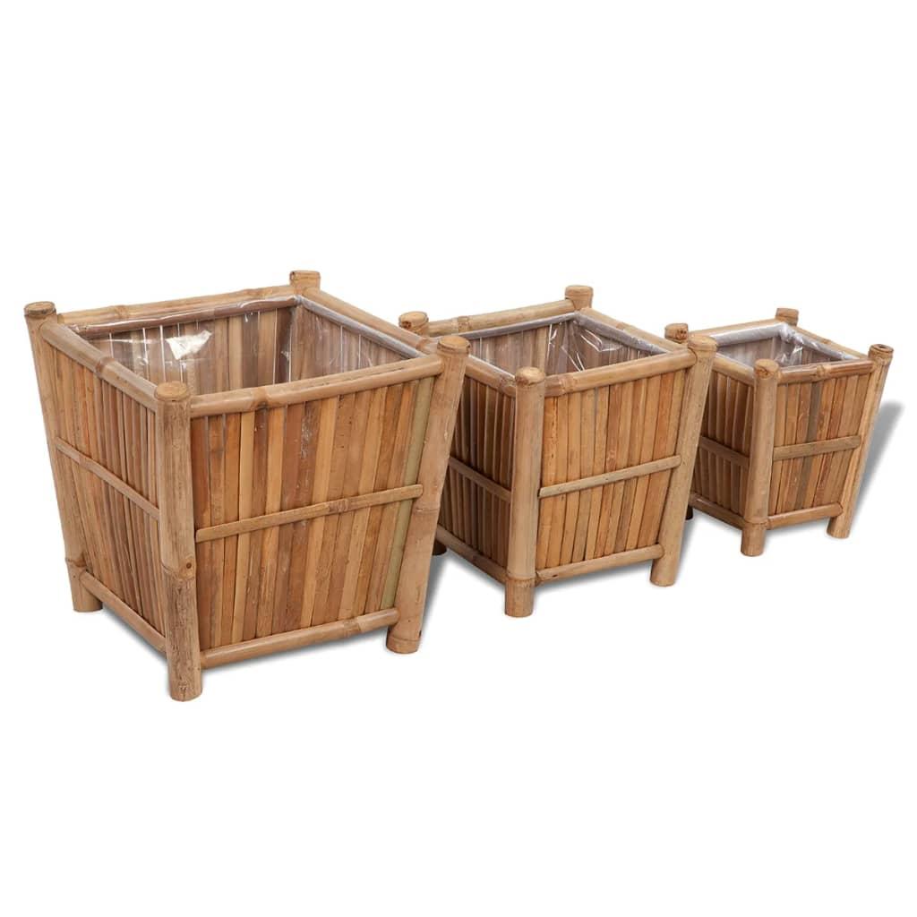 vidaxl-3-pcs-bamboo-planter-with-nylon-lining
