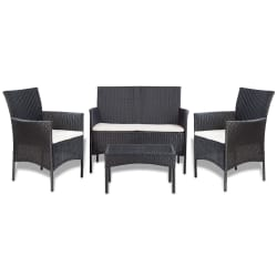 Black Outdoor Poly Rattan Lounge Set