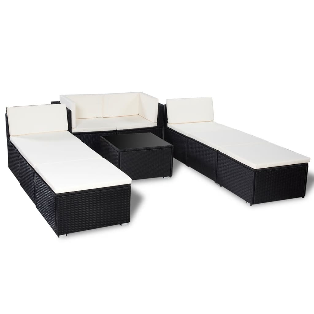 gartenm bel set aus pe rattan schwarz g nstig kaufen. Black Bedroom Furniture Sets. Home Design Ideas