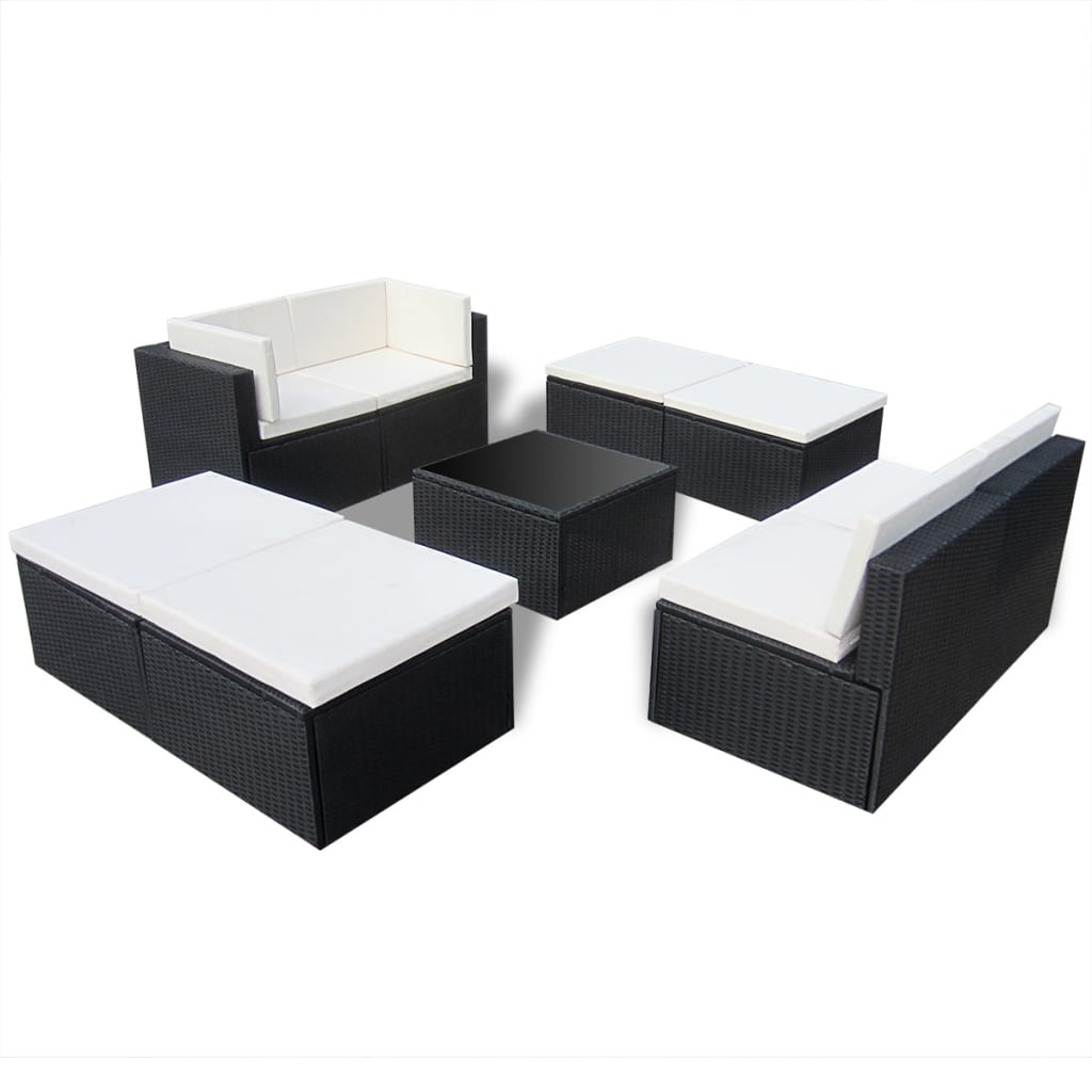 Rattan lounge  vidaXL Black Outdoor Poly Rattan Lounge Set | vidaXL.com