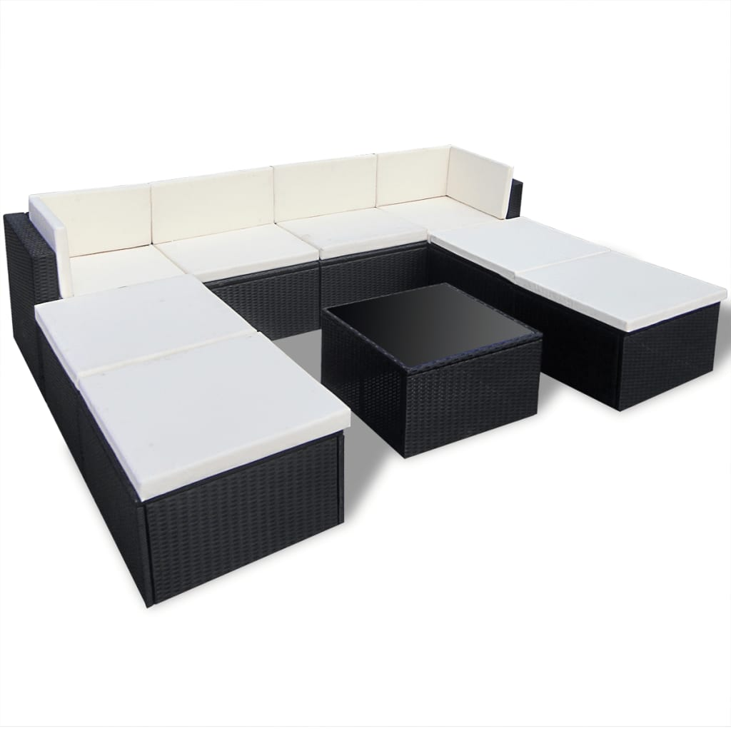 vidaxl black outdoor poly rattan lounge set. Black Bedroom Furniture Sets. Home Design Ideas