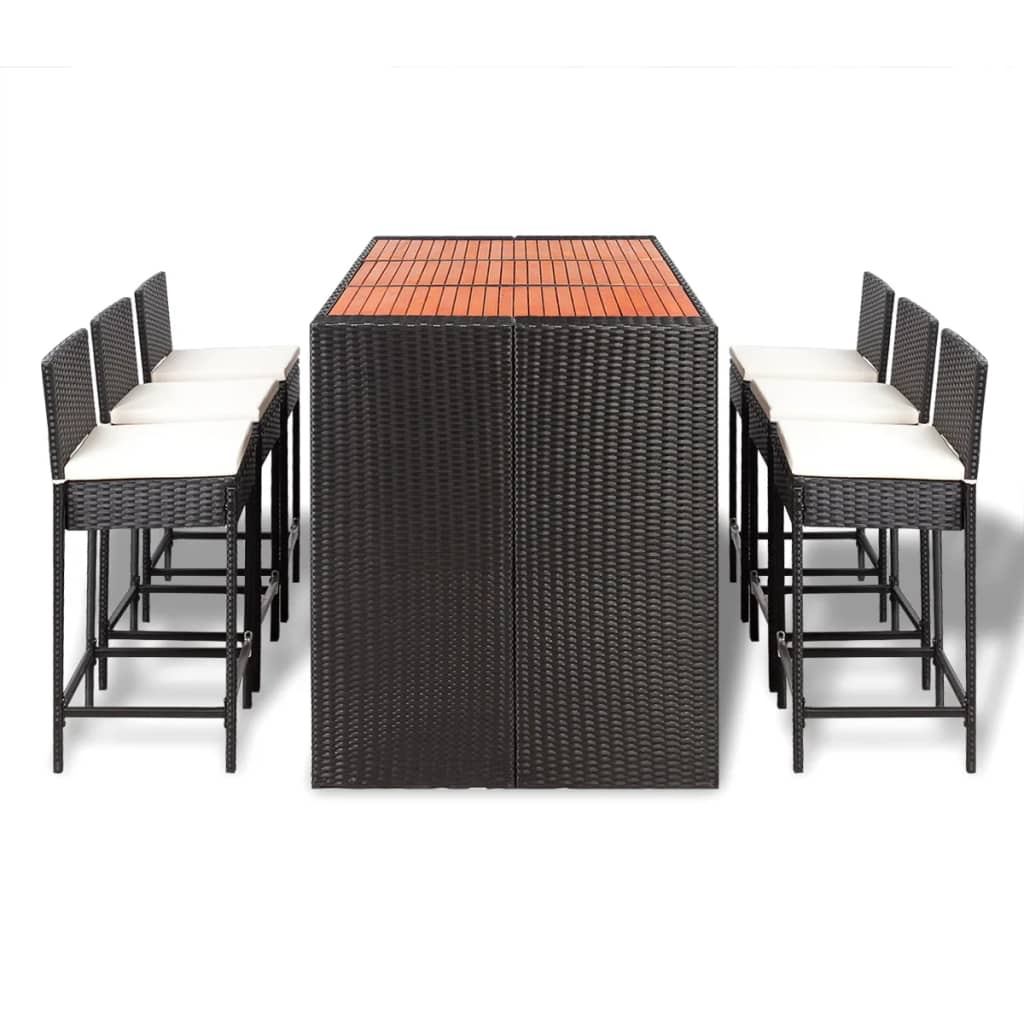 vidaxl poly rattan bar furniture set 6 bar stools 1 table. Black Bedroom Furniture Sets. Home Design Ideas