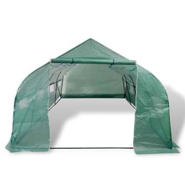 Walk-in Portable Polytunnel Greenhouse with Steel Frame 18 m2[2/5]