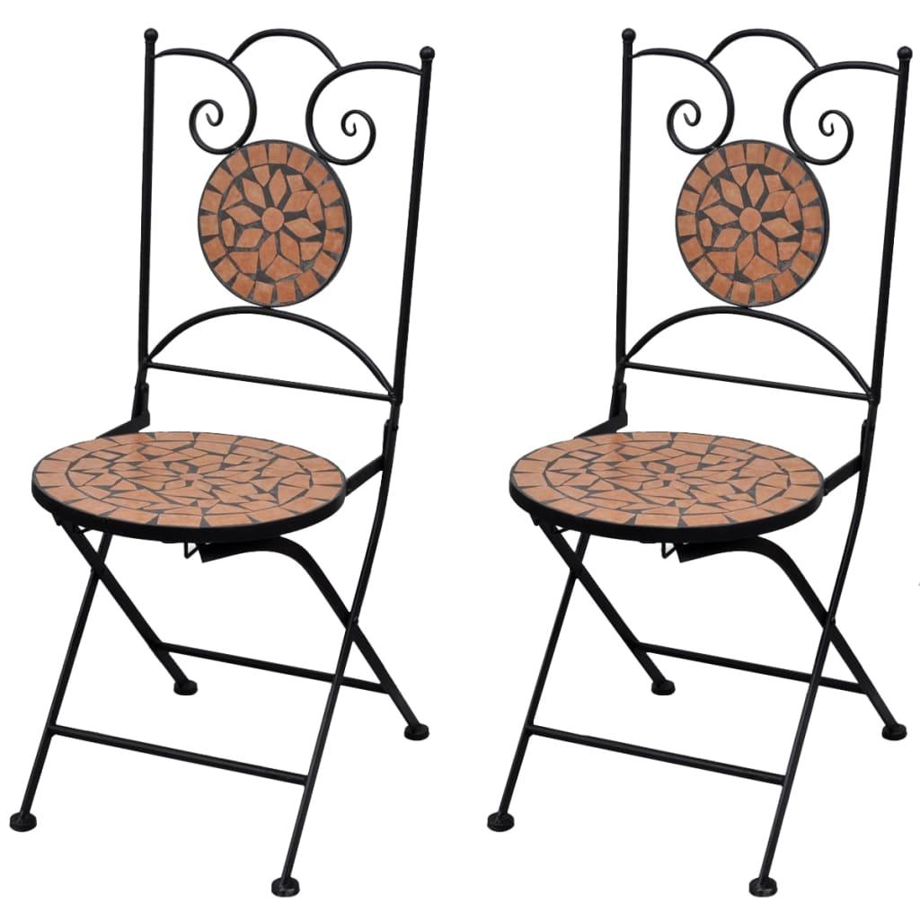 vidaXL Mozaikowe krzesło bistro Terracotta - zestaw 2 szt