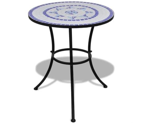 Mosaiktisch 60 cm Blau/Weiß