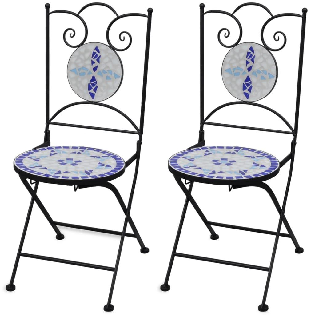 vidaXL 2 db-os kék / fehér mozaik bisztró szék szett