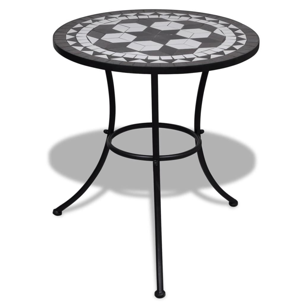 Mosaikbord 60 cm svart / vitt