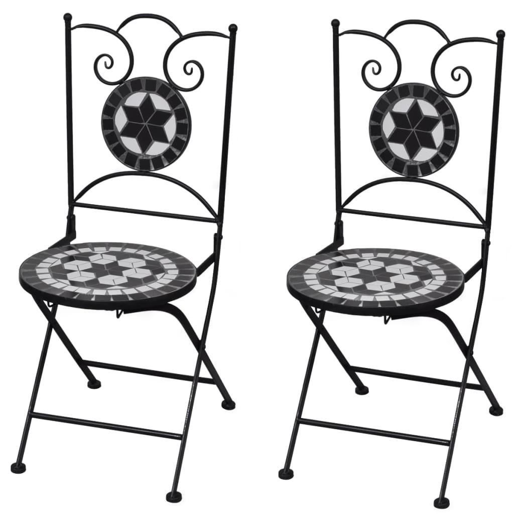 Set med 2 st. mosaik bistro stolar svart / vit
