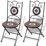 Jeu de 2 chaises mosaïques de bistro terre cuite / blanche