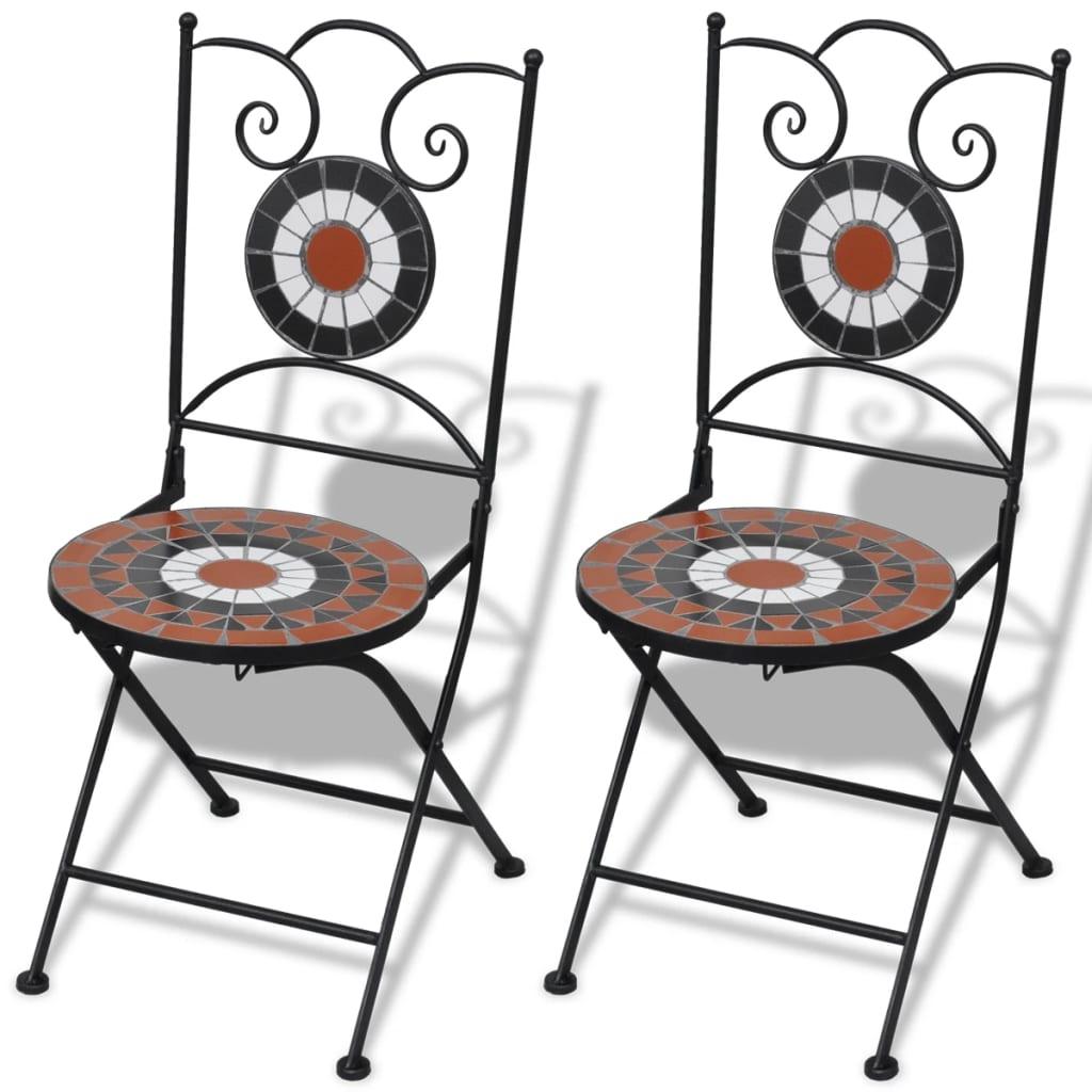 vidaXL 2 db-os terrakotta / fehér mozaik bisztró szék szett