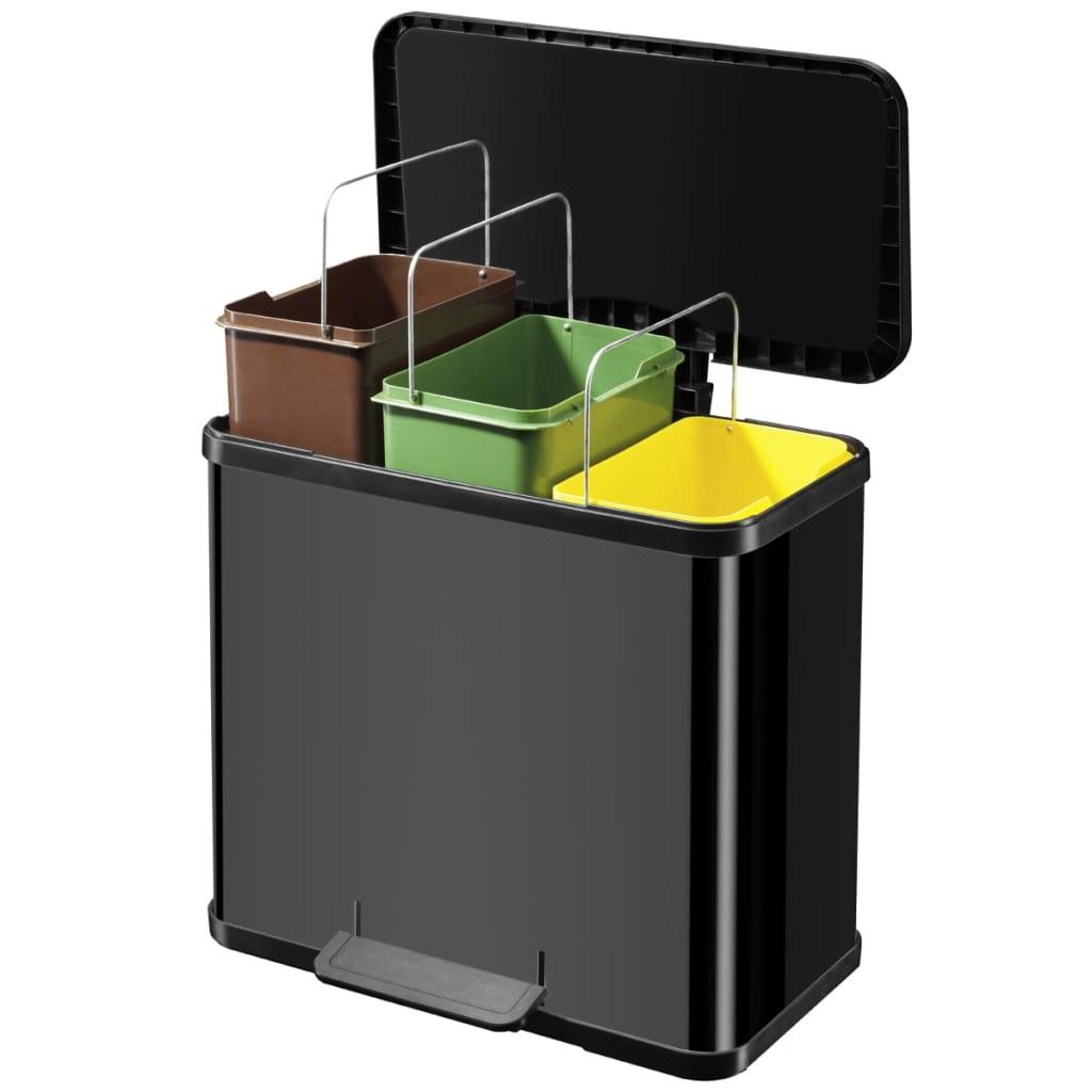 hailo tretm lleimer oko trio plus gr e l 3 x 9 l schwarz. Black Bedroom Furniture Sets. Home Design Ideas
