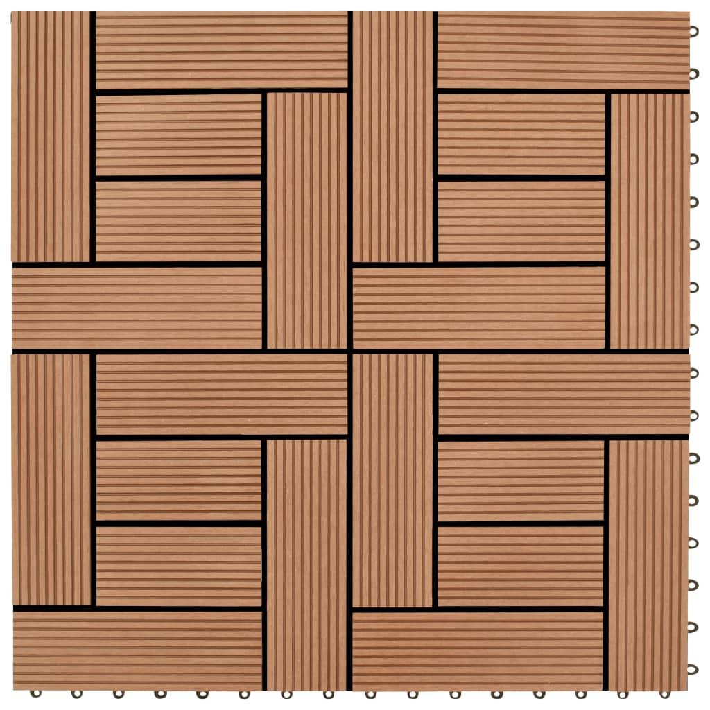 vidaXL Barna színű 11 db 30 x cm-es padló csempe WPC 1 m˛