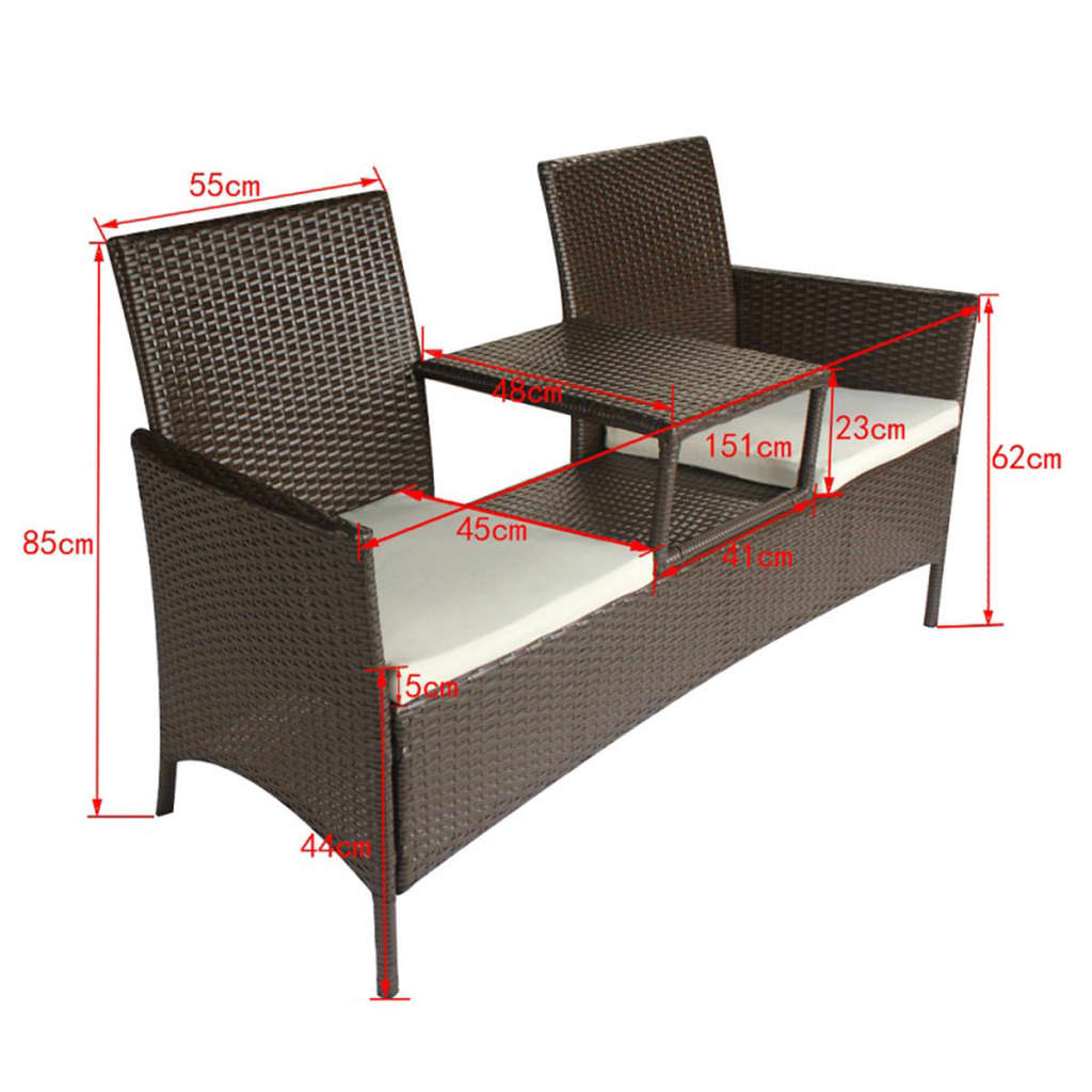 der braune poly rattan bank mit teetisch f r zwei personen online shop. Black Bedroom Furniture Sets. Home Design Ideas
