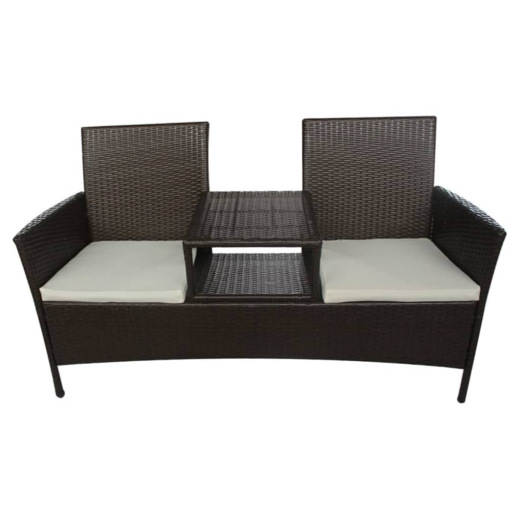 vidaxl sitzbank poly rattan 2 sitzer gartenbank. Black Bedroom Furniture Sets. Home Design Ideas