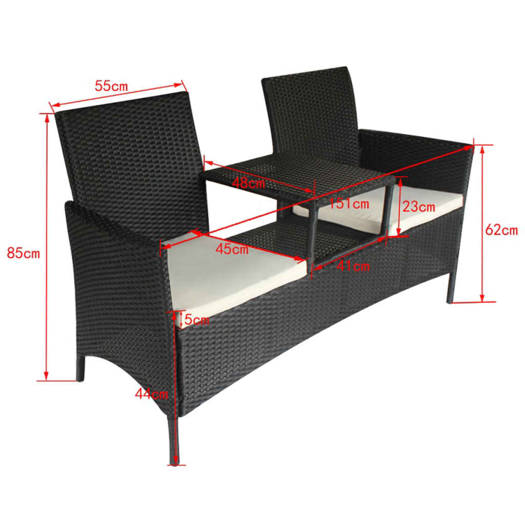 vidaxl gartenbank poly rattan 2 sitzer sitzbank gartenm bel tisch sitzkissen ebay. Black Bedroom Furniture Sets. Home Design Ideas
