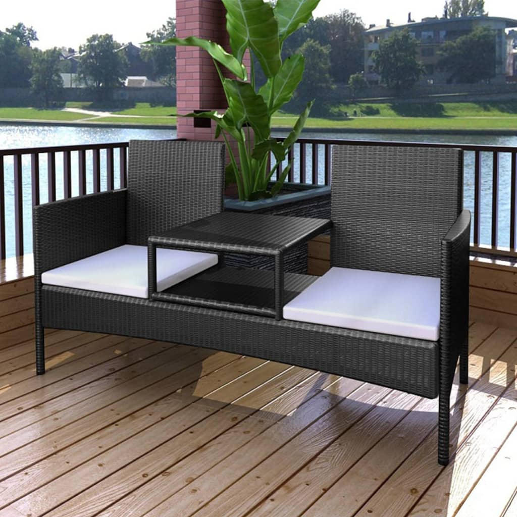 der schwarze poly rattan bank f r zwei personen mit teetisch online shop. Black Bedroom Furniture Sets. Home Design Ideas