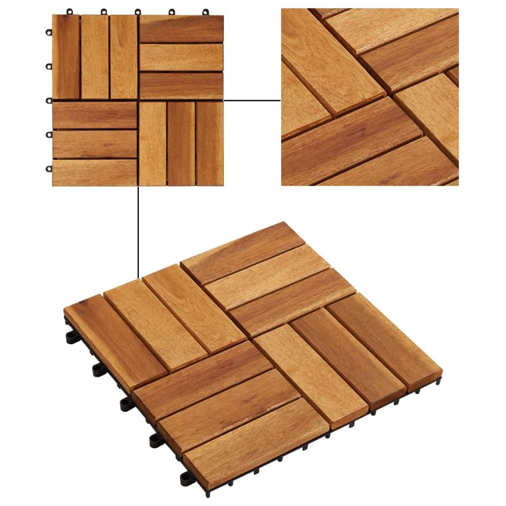 Articoli per set 10 piastrelle in legno di acacia per pavimento 30 x 30 cm - Piastrelle di legno ...