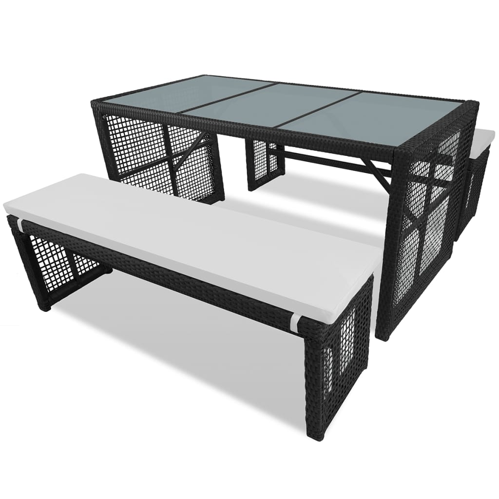 polyrattan gartenm bel set 1 tisch und 2 b nke schwarz. Black Bedroom Furniture Sets. Home Design Ideas