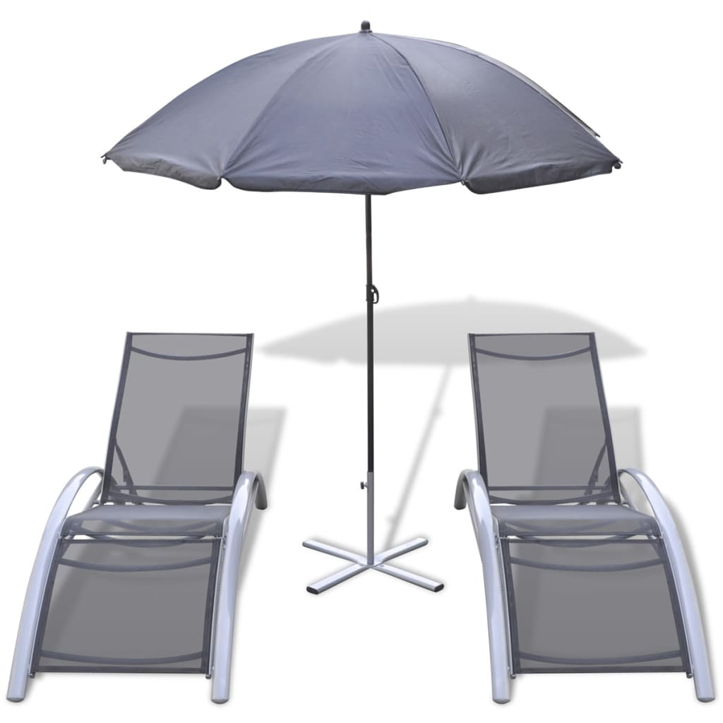 acheter set de bains de soleil en aluminium avec parasol. Black Bedroom Furniture Sets. Home Design Ideas