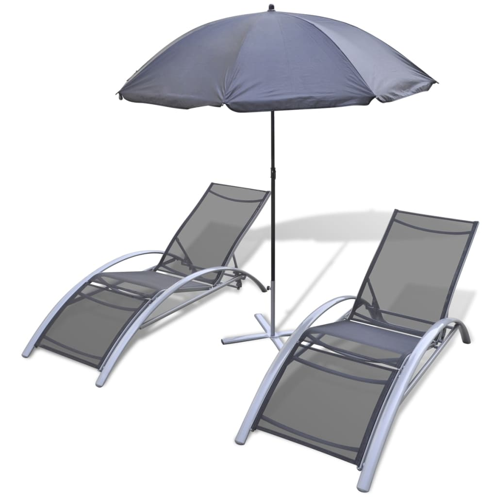 la boutique en ligne set de bains de soleil en aluminium avec parasol vidax. Black Bedroom Furniture Sets. Home Design Ideas