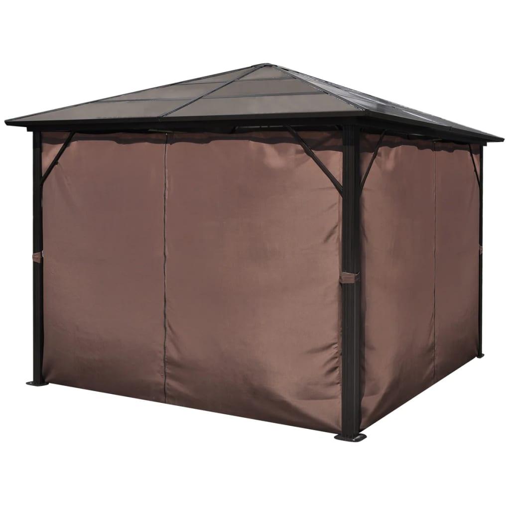 la boutique en ligne vidaxl tonnelle rideaux marron aluminium 300x300cm r sistant aux. Black Bedroom Furniture Sets. Home Design Ideas