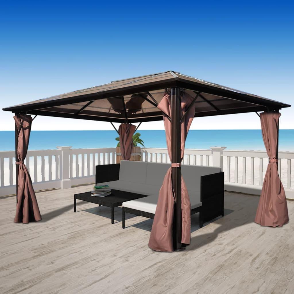 acheter vidaxl tonnelle rideaux marron aluminium 400x300cm r sistant aux intemp ries pas cher. Black Bedroom Furniture Sets. Home Design Ideas