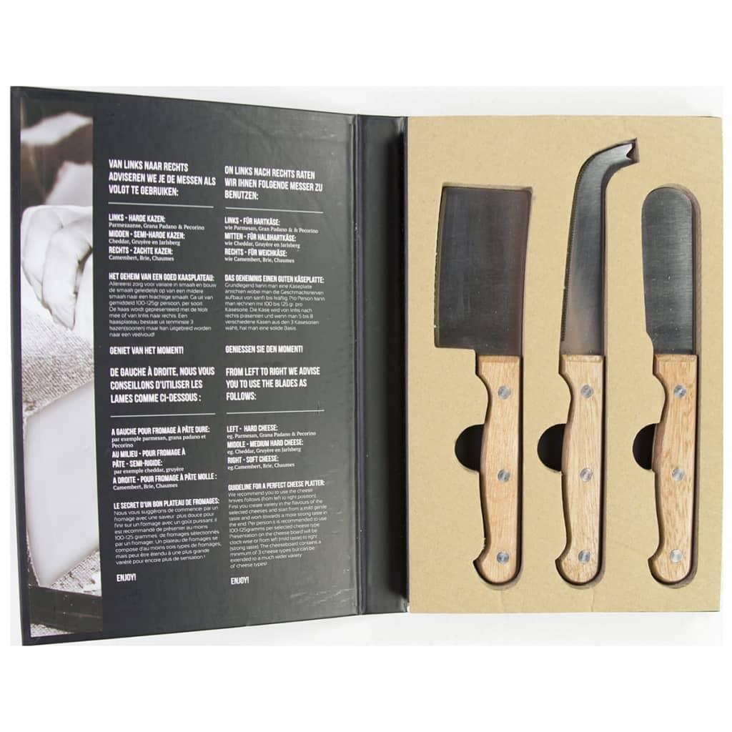 Afbeelding van Gusta Kaasmessen set metaal en hout 3-delig 01137490