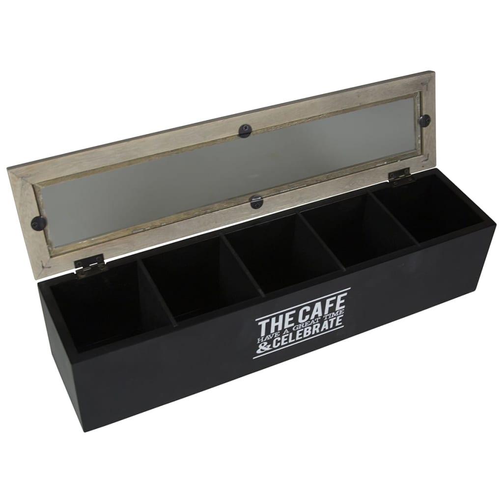 Acheter gusta bo te th avec 5 compartiments the cafe bois 38 x 9 x 9 cm pas cher - Boite a the 9 compartiments ...