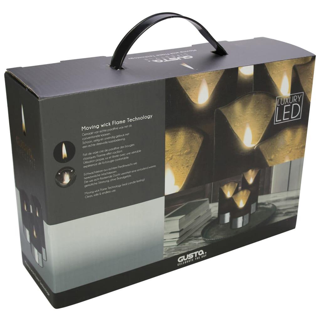 acheter gusta bougie led 3 pi ces noir et argent 04290380 pas cher. Black Bedroom Furniture Sets. Home Design Ideas