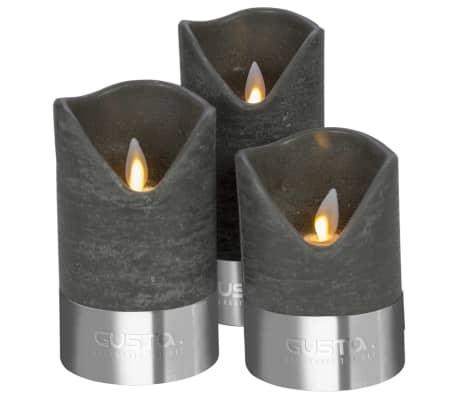 gusta bougie led 3 pi ces noir et argent 04290380. Black Bedroom Furniture Sets. Home Design Ideas