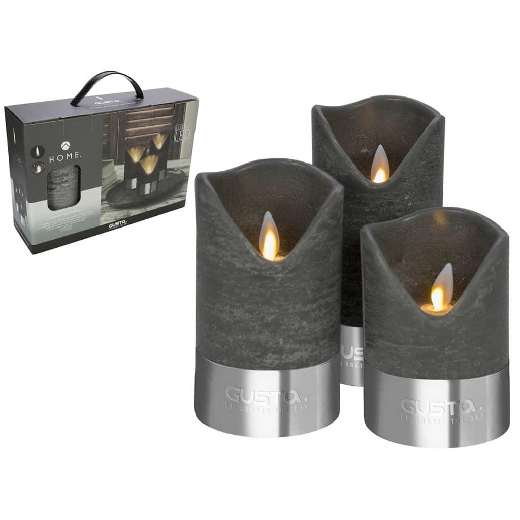 gusta led kerzen 3 st ck schwarz und silber 04290380 g nstig kaufen. Black Bedroom Furniture Sets. Home Design Ideas