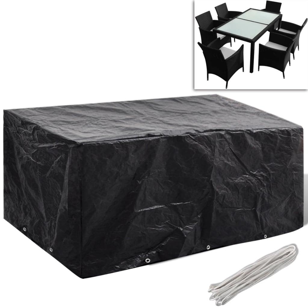 vidaXL 6 személyes Polyrattan kerti bútor borító 10 fűzőkarikával 240x140 cm