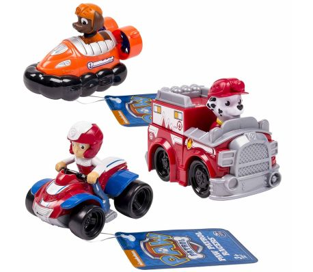 spin master three piece vehicle set paw patrol rescue racers 6 6026590. Black Bedroom Furniture Sets. Home Design Ideas