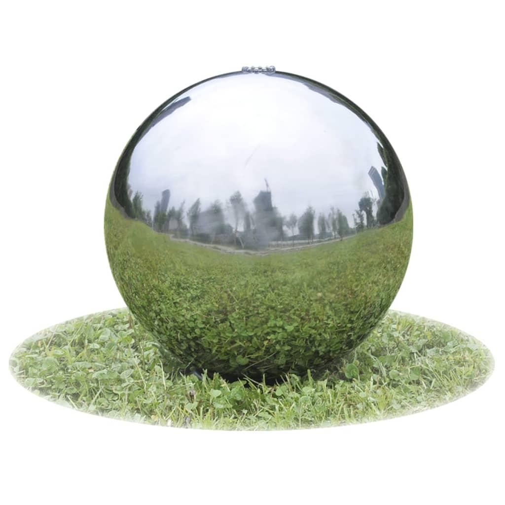 vidaXL Kerti gömb rozsdamentes szökőkút LED-el 30 cm