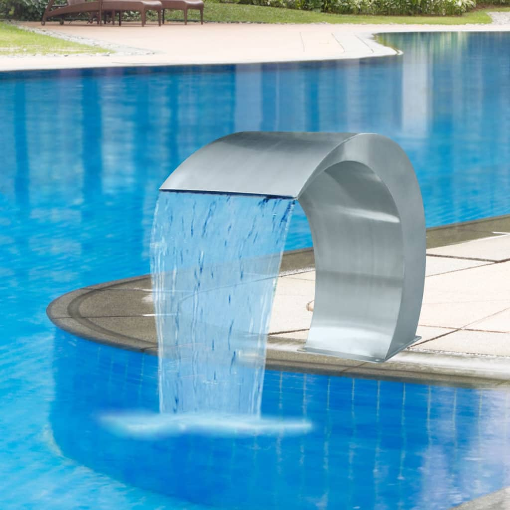 Garden waterfall pool fountain stainless steel 17 7 x 11 for Waterfall fountain