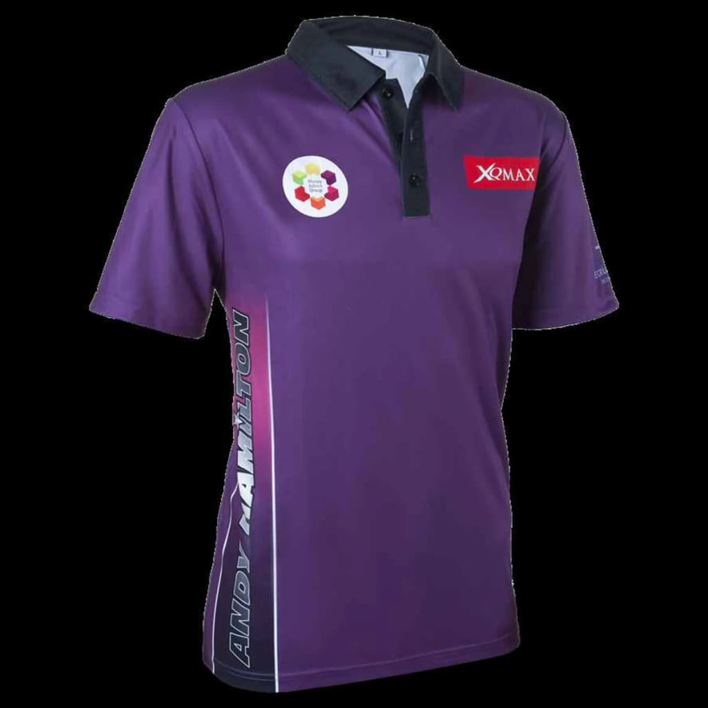 acheter xqmax darts t shirt andy hamilton violet taille xl qd9200350 pas cher. Black Bedroom Furniture Sets. Home Design Ideas