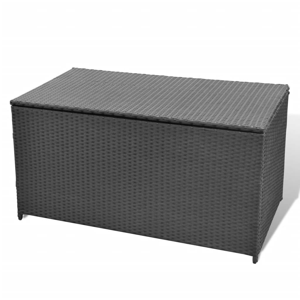 garten aufbewahrungsbox wasserdicht poly rattan schwarz. Black Bedroom Furniture Sets. Home Design Ideas