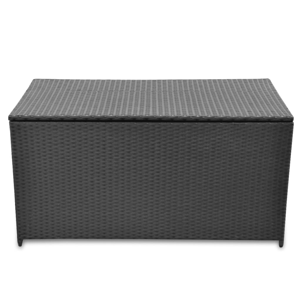 poly rattan garden storage chest waterproof black vidaxl. Black Bedroom Furniture Sets. Home Design Ideas