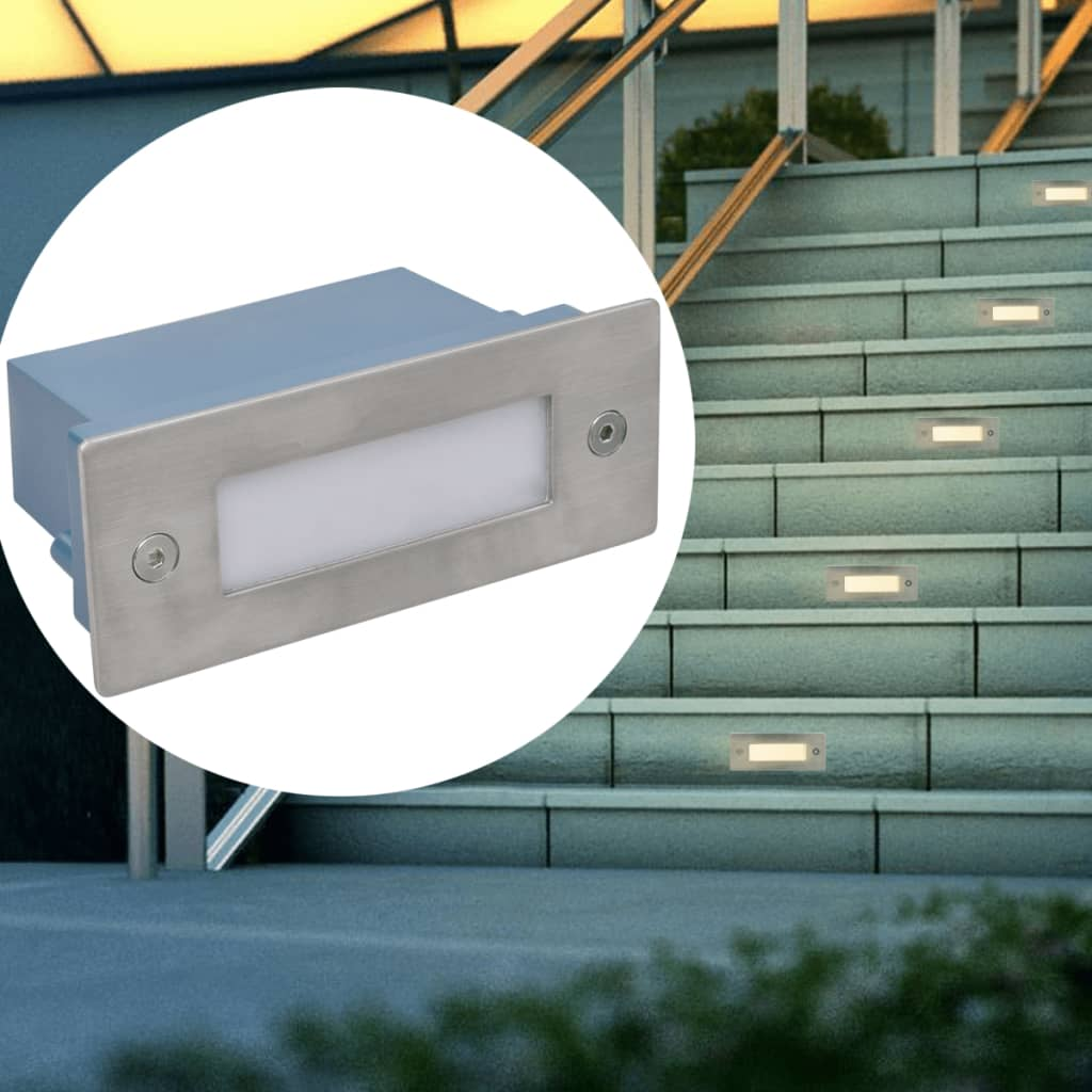 vidaXL 2 db lépcsőbe építhető LED lámpa / kültéri 44 x 111 56 mm